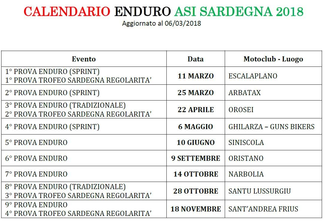 Anteprima Calendario Enduro ASI Sardegna 2018