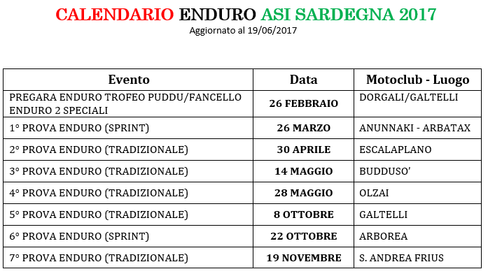 Anteprima Calendario Enduro ASI Sardegna 2017